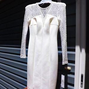 NWT White Calvin Klein Bodycon Mesh Lace Dress